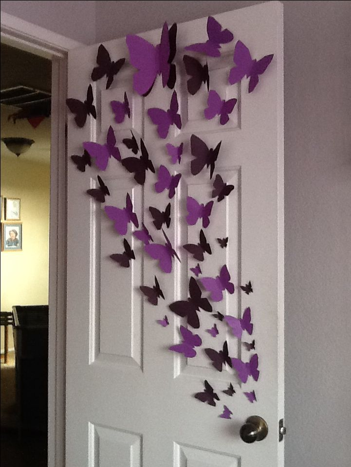 Paper butterfly wall art diy pinterest butterfly for Wall decorating ideas pinterest