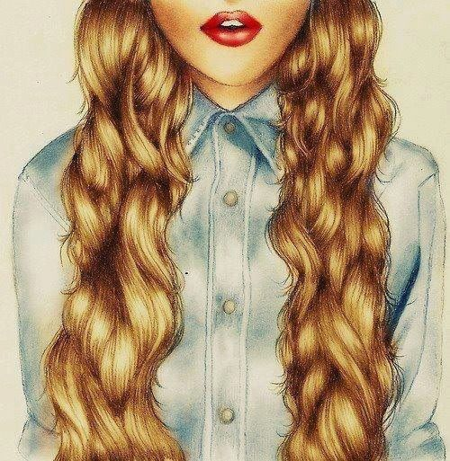 Blonde hair wavy hair bye red lips curly hair long hair