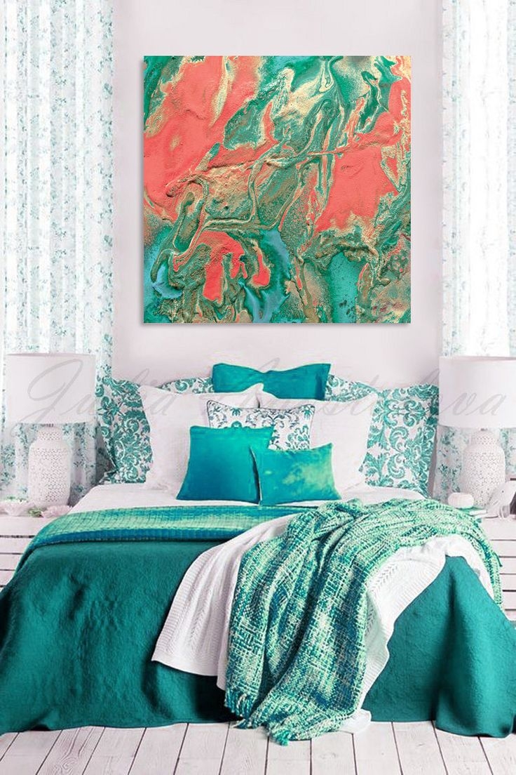 #Large #Canvas #Art, #Peach and #Mint #Print, #Turquoise and #Coral #Painting, #Large #WallArt #Teal #Emerald #Watercolor #Abstract, ''The #Voice of #Nature'' by #JuliaApostolova on #Etsy #LargeWallArt JuliaApostolovaArt #homedecor #interior #bedroom #livingroom #decor #interiordesign  #interiordesigner #officedecor #homeinterior