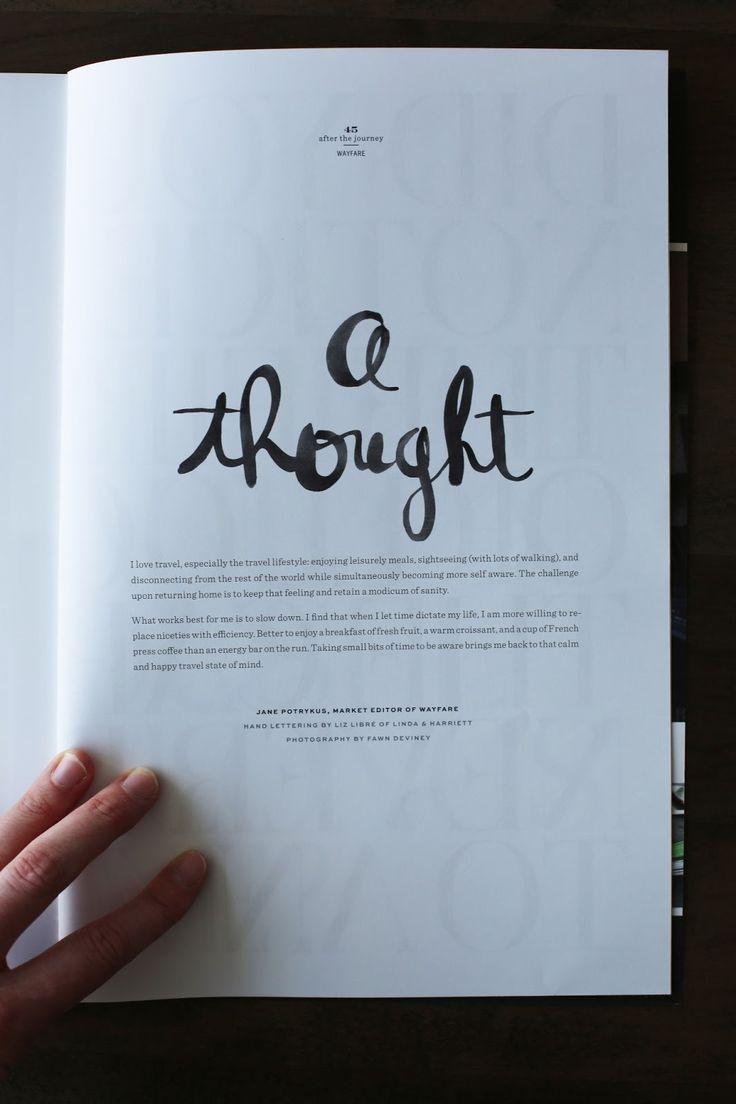 linda & harriett | wayfare magazine. #typography