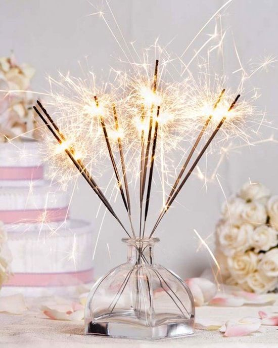 MADE February 24, 2012 - I just liked the sparklers in a bottlenecked container, so they taper in like this. Short-lived but fun decor for the champagne birthday party.