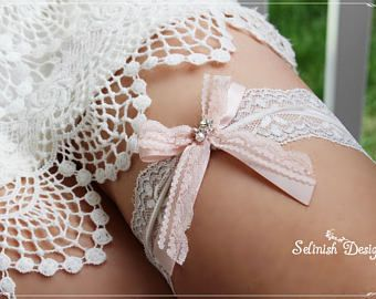 Wedding Garter, Blush Garter, Blush&Silver Garter, Bridal Garter, Blush Wedding, Garters, Bride Garter, Lace Garter-G175blushbow
