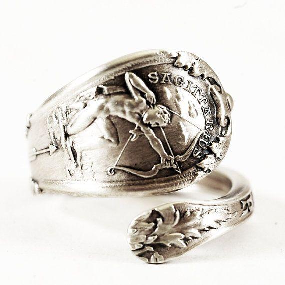 Lovely Zodiac Spoon Ring Sagittarius with Archer Gorham by Spoonier