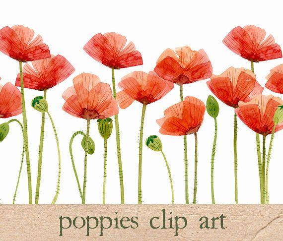 Digital Clipart Watercolor Poppies Flower by SwiejkoForPrint