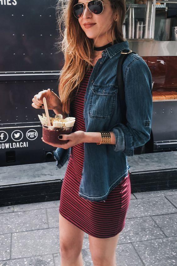 Aviator sunglasses, dark chambray shirt, burgundy/maroon dress, black bag