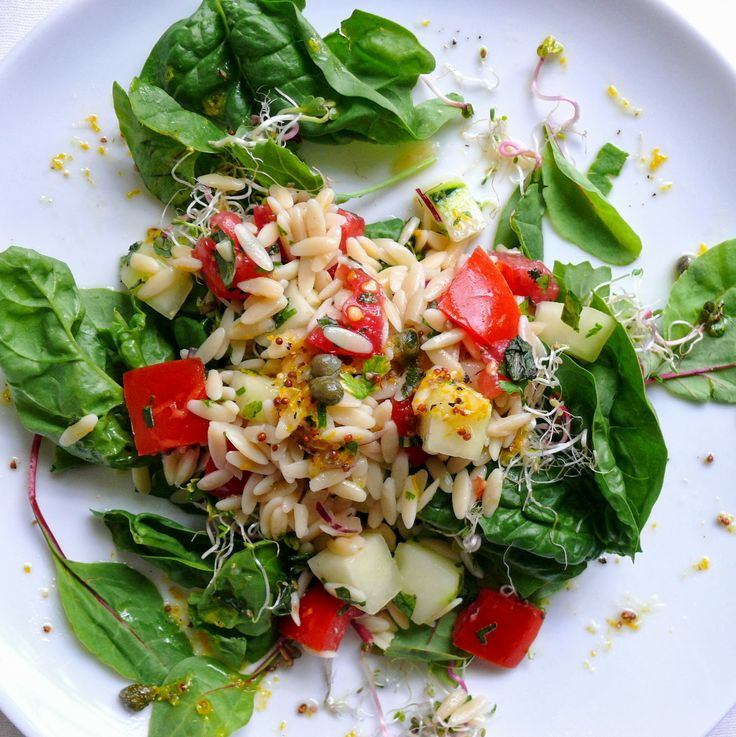 Herbed Orzo Salad with Lemon & Cucumber | Salads | Pinterest