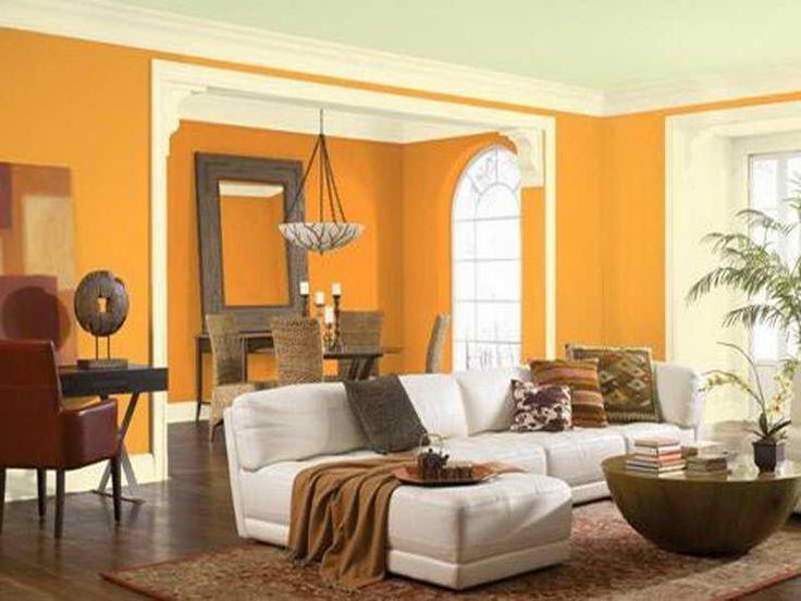 Living Room Orange Walls Charming Curtains Chair Bathroom Floor