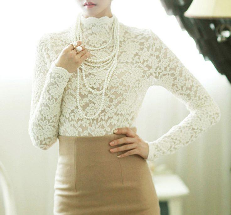 Sheer long sleeve turtleneck Ivory floral lace blouse black lace spandex tops #nobrand #LaceBlouse #Casual