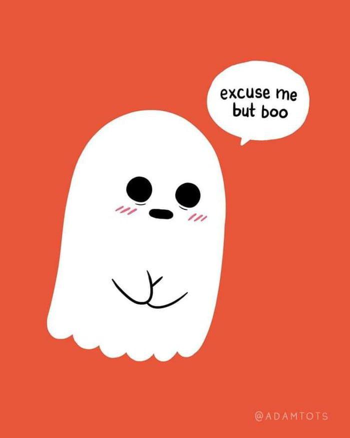 Pardon Me Ghost Cartoon Cute Ghost Funny Ghost