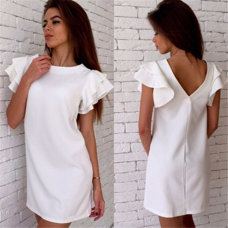 New Arrival Women Summer Style Dress Casual Butterfly Sleeve Sexy Backless Dress Vestidos