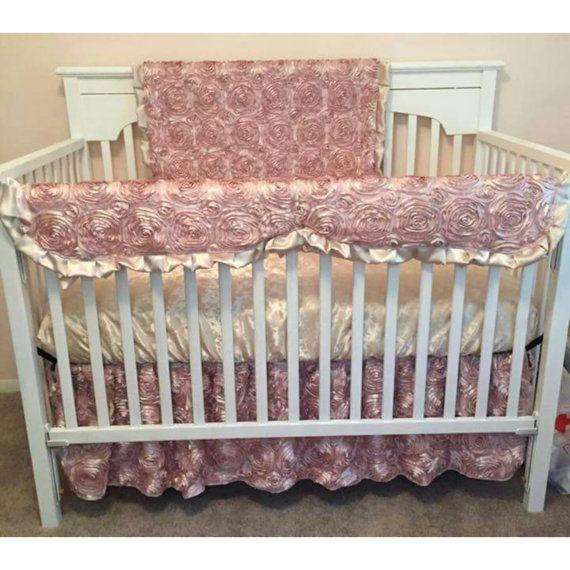 Baby Girl Crib Bedding Blush Rosette by MamaMadeBabyBedding