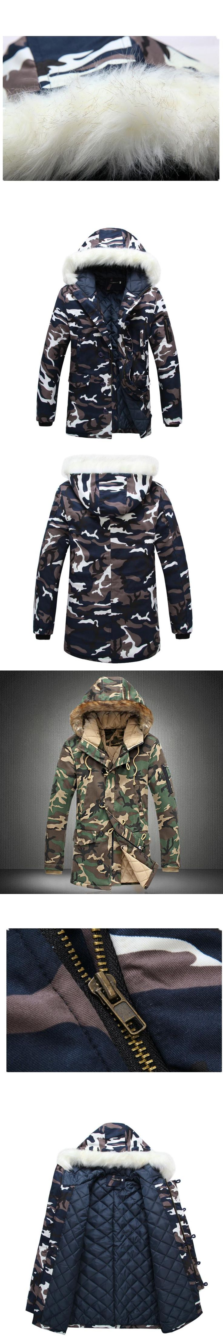 Camouflage Down Parkas Jackets  2017 Men's Parka Hooded Coat Male Fur Collar Parkas Winter Jacket Men Military Down Overcoat