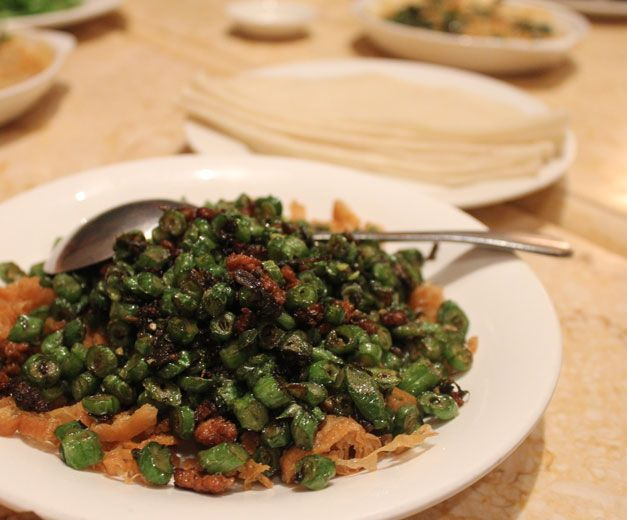 Charmant's green beans with pork and mustard greens, photo by UnTour Shanghai
