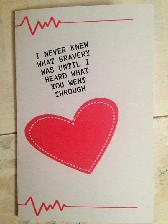Get Well Card Heart disease card Heart Surgery card Brave   Sarcasm