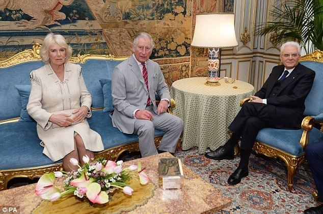 The Prince of Wales and the Duchess of Cornwall meet the President of Italy Sergio Mattare...