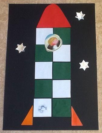 Raket van blokjes Laat de oudste kleuters 16 vierkantjes vouwen en uitknippen. Leg de raket van de vierkantjes. De jongste kleuters kun je vierkante plakfiguren geven die zij, eventueel op een format, opplakken