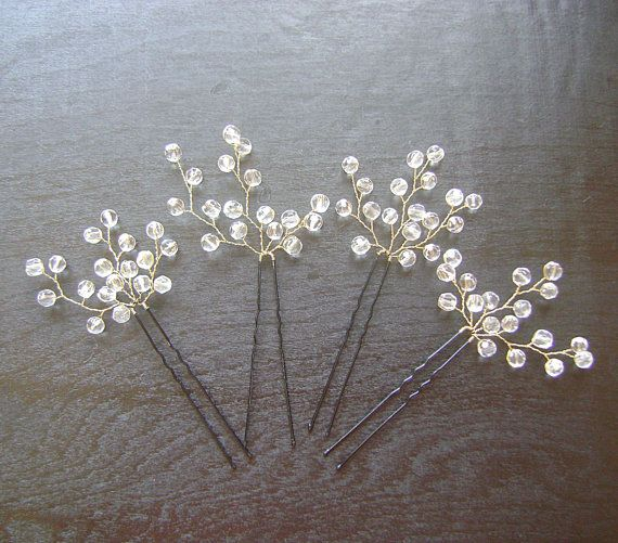 bridal hair pins with glass crystals and pearls bridal hair vine wedding hair accessories bridal headpiece bridal hairpiece set of two products