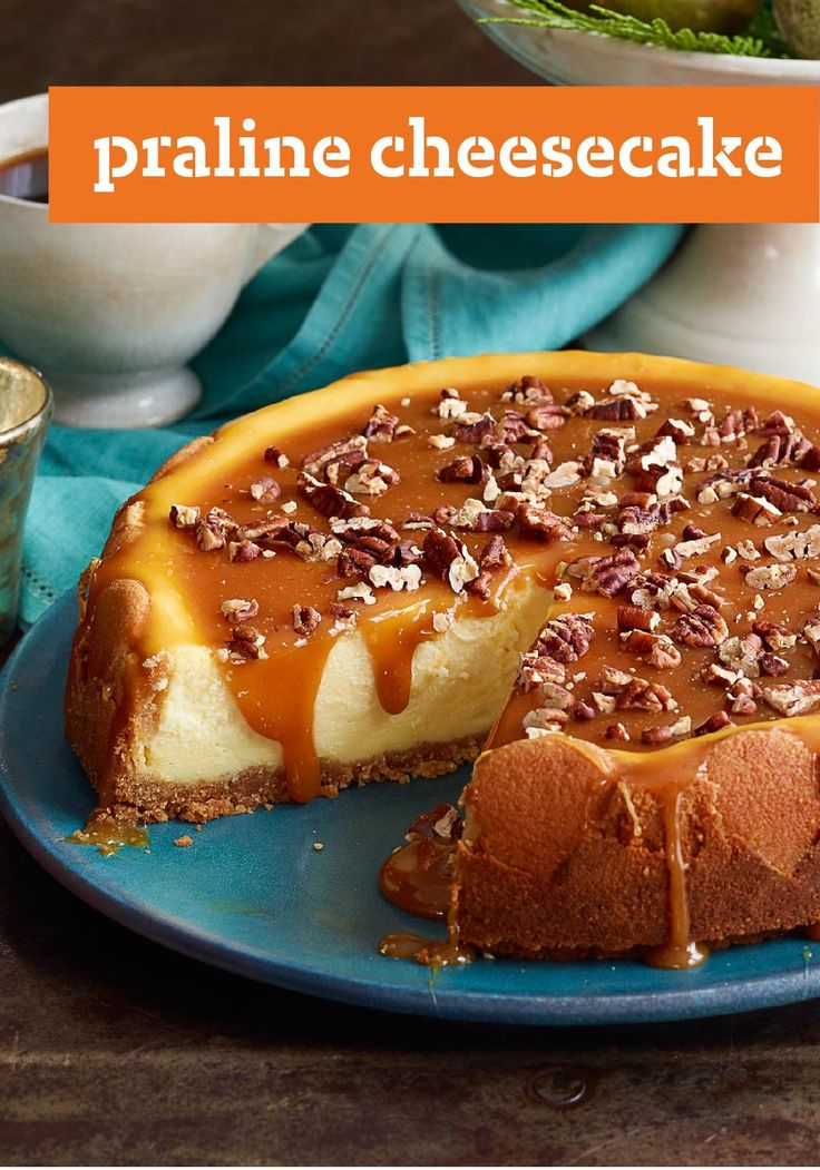 Praline Cheesecake — Pralines and cream—in the form of a cheesecake. Drizzled with caramel, this easy to make, gorgeous dessert is a guaranteed recipe winner!