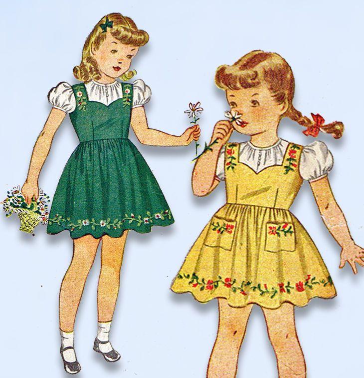 1940s Vintage Simplicity Sewing Pattern 4231 WWII Toddler Girls Jumper Dress Sz2 #Simplicity #DressPattern
