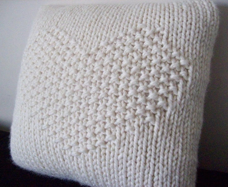 Heart Design Knitted Pillow  14 Square by MinusColour on Etsy, $42.00