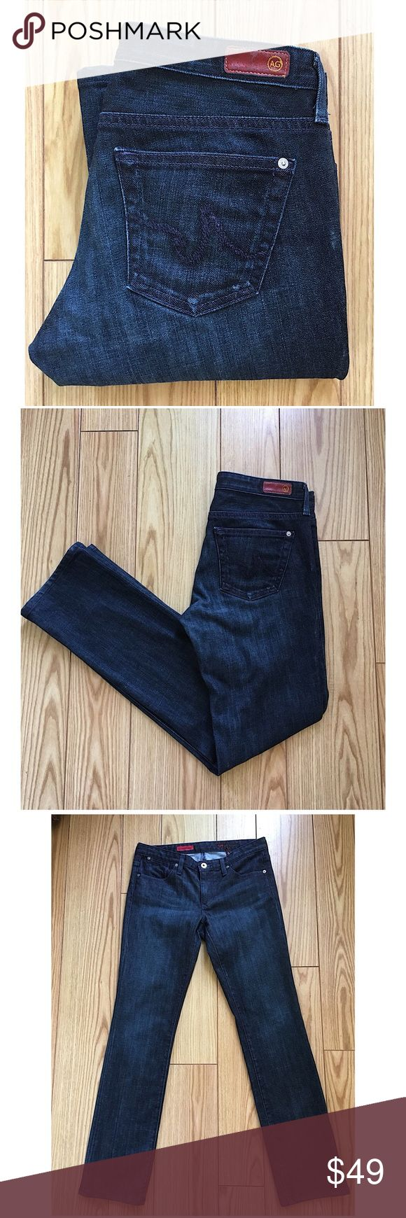 """AG ADRIANO GOLDSCHMIED """"CASABLANCA"""" JEANS Dark wash AG CASABLANCA Jeans.  Great condition.  5 pocket styling with zip/button closure. 98% Cotton 2% Polyurethane.  ALL MEASUREMENTS ARE APPROXIMATE AND TAKEN LAYING FLAT: Waist 15.5"""", Rise 7.5"""", Inseam 31.5"""", Leg Opening 7.25"""" Ag Adriano Goldschmied Jeans Straight Leg"""