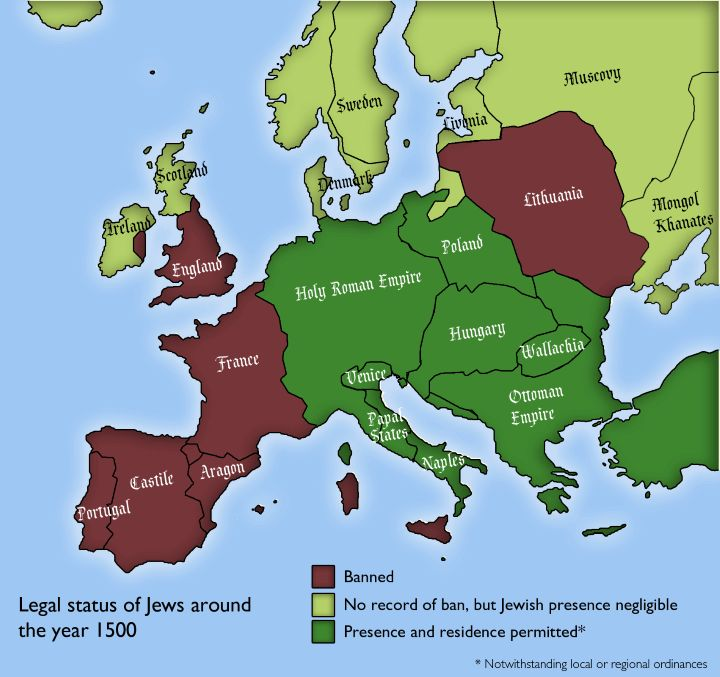 Legal Status of Jews By European Country Around 1500