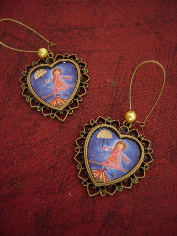 The Life Acrobat  art illustrated earrings by eltsamp on Etsy, $24.00