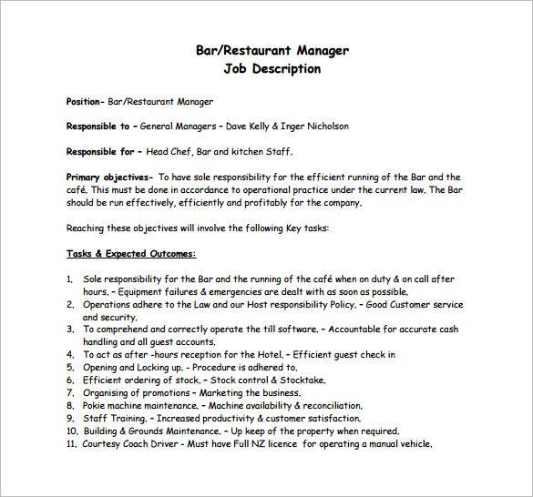 Template Net Restaurant Manager Job Description Template 8 Free Word Pdf Ef01cc7d Resumesample Resumefor