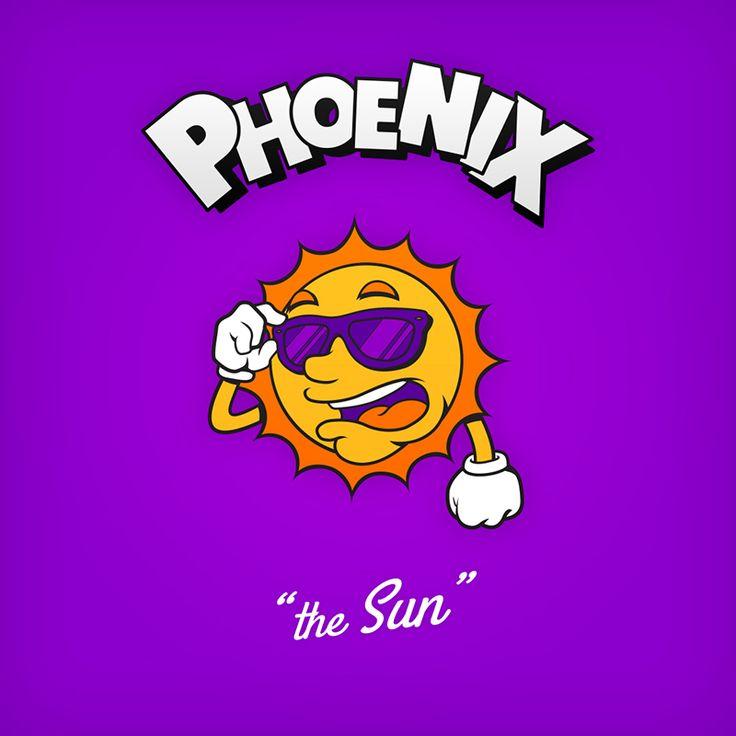 """Phoenix """"the Sun"""" design de logo NBA en personnages de dessin animés"""