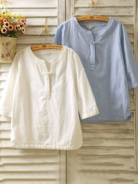 0ce64a72269 Buy Blouses   Shirts For Women at Popjulia. Online Shopping Solid Buttoned 3  4 Sleeve Casual Linen Blouse