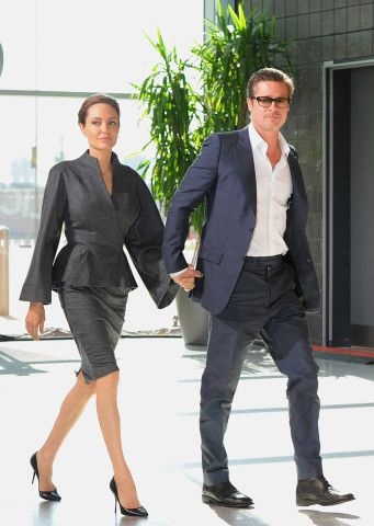 Consciously Coupling: Brad Pitt and Angelina Jolie Are Married at Last! – Vogue - Angelina Jolie in Atelier Versace