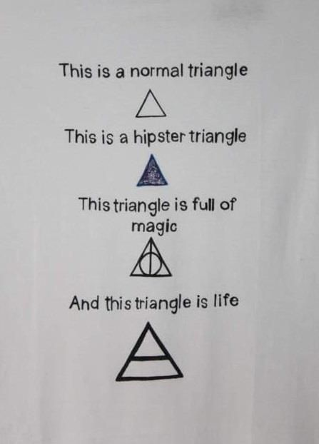 Ha! I don't know why the second one is a hipster triangle, but this is cute.