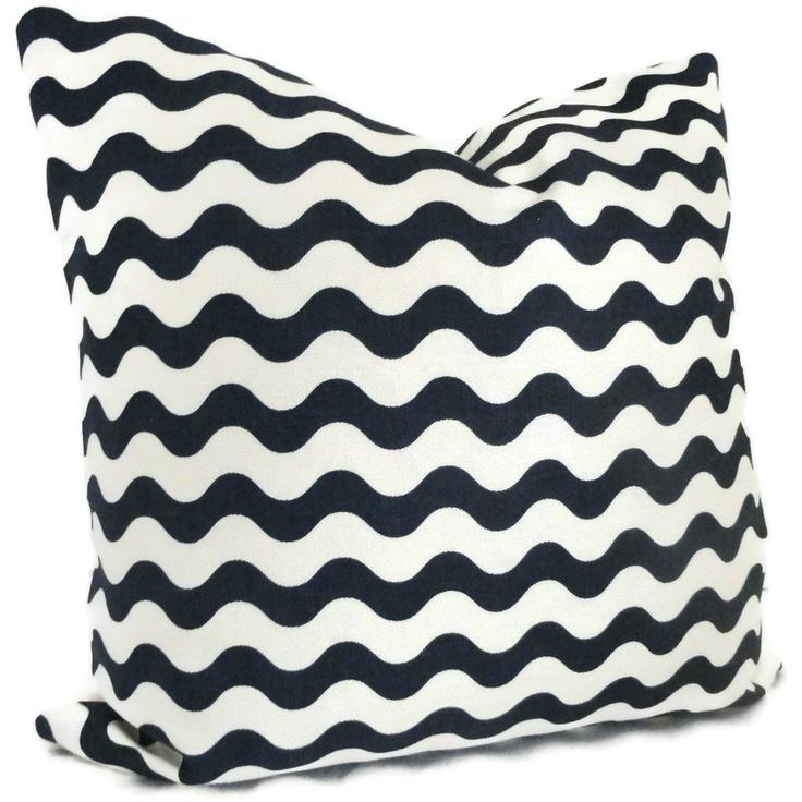 Blue Lumbar Throw Pillow : Studio Bon Navy Blue Ric Rac Decorative Pillow Cover 18x18, 20x20 or lumbar pillow - Accent ...