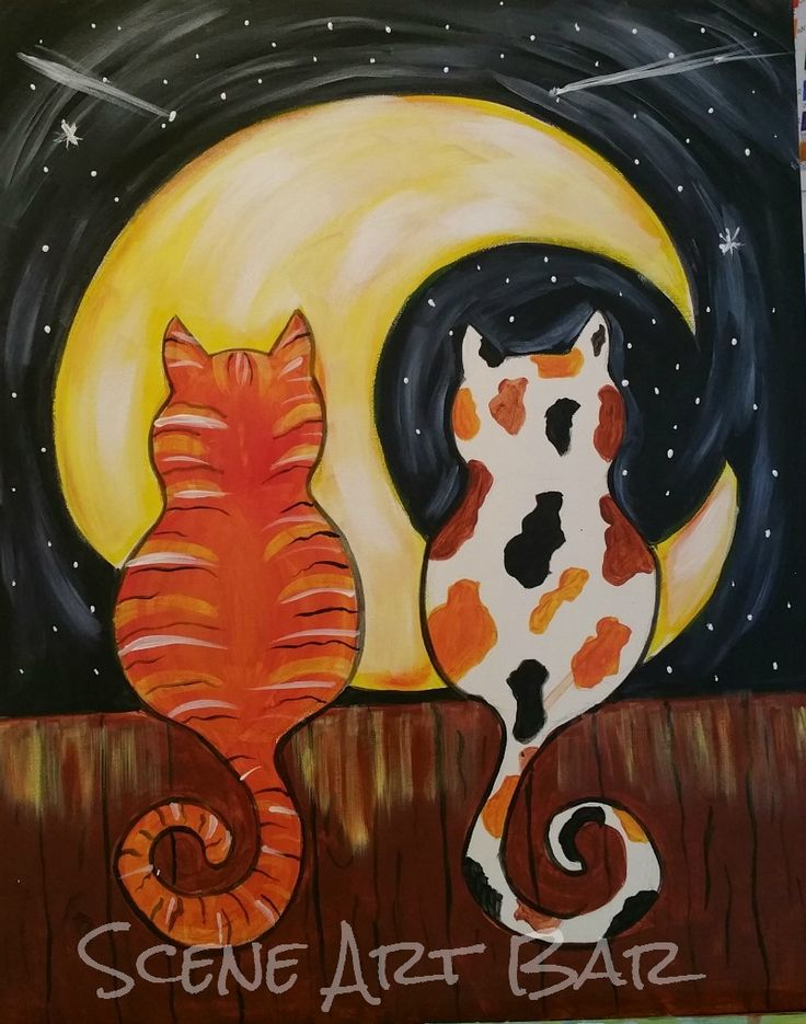 Step-by-Step beginners acrylic painting for children, two cats on a fence facing the moon.