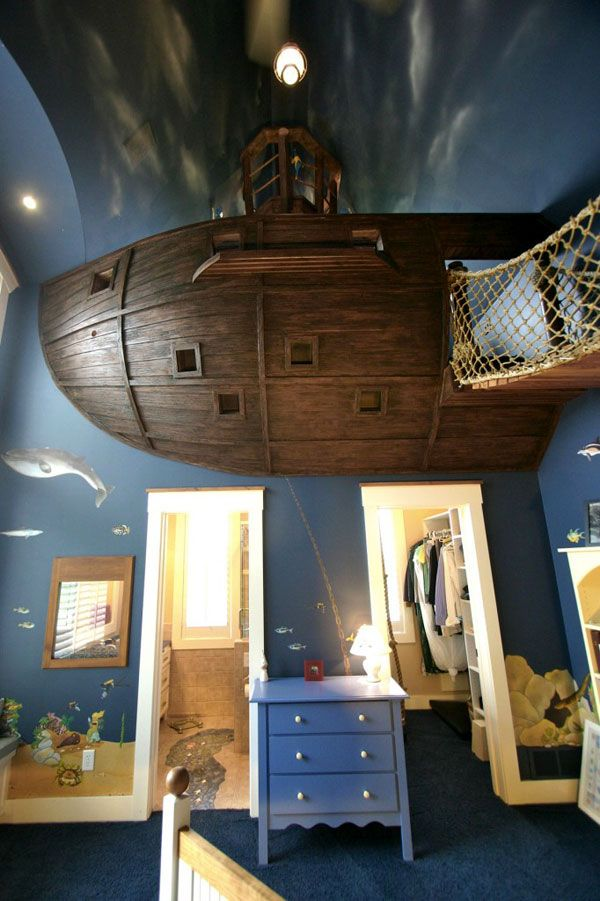 """Believe it or not this is the idea ive always had for my kids!This is THE MOST amazing room ever...I think this is how I'm going to make my """"underwater"""" theme work..."""