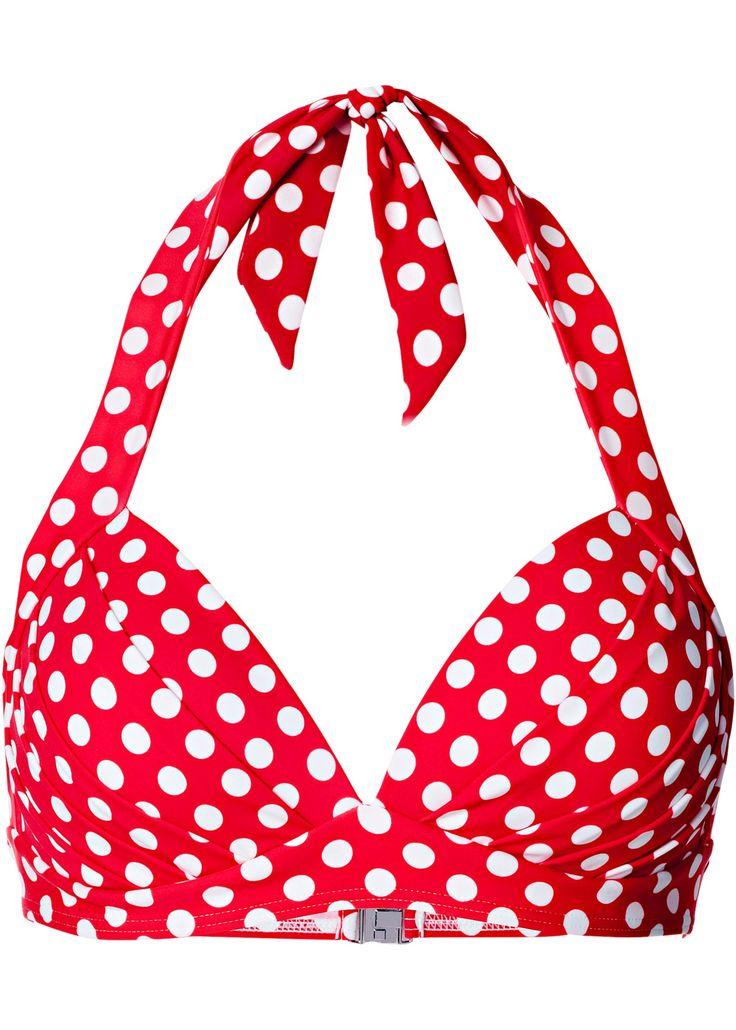 Push-up Bikini Oberteil Cup B rot mit weißen Punkten #bikini #urlaub
