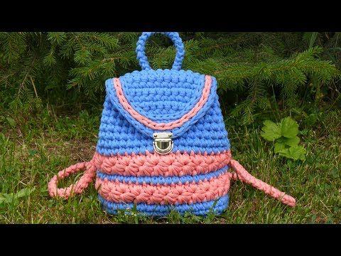 Рюкзак из трикотажной пряжи. Вязание крючком. Backpack of T-Shirt Yarn. Crochet. - YouTube