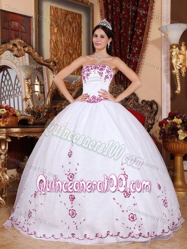 White Ball Gown Strapless Dress for Quince with Red Embroidery