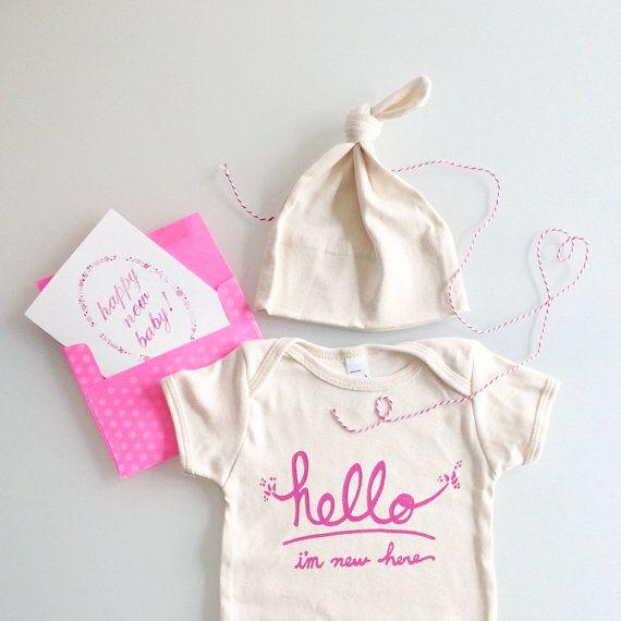 Hello I'm New Here Baby Gift Set pink by eggagogo on Etsy, $25.00