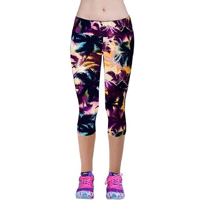 Shensee de cintura alta aptitud Sport pantalones de yoga Impreso estiramiento de las polainas (XL, púrpura)