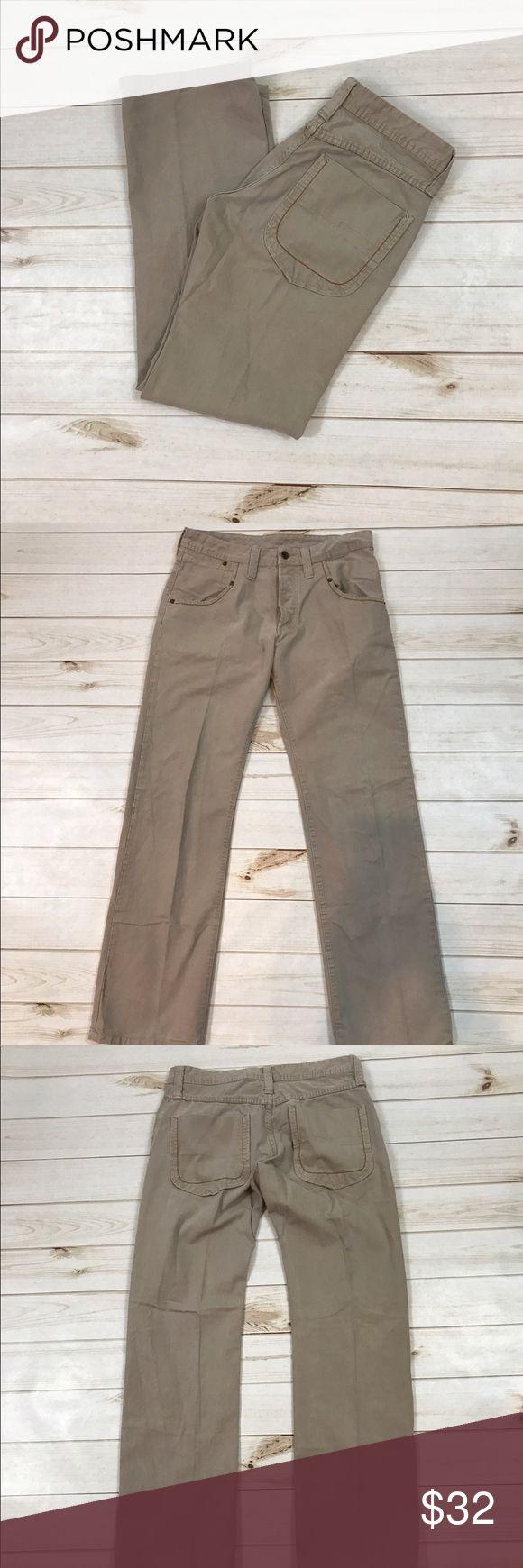 "Zara Men's Kaki Jeans Size 34 Zara Men's Kaki Button Up Jeans Size 34. 41.4"" length, 32.5"" Inseam. Used but in fairly good condition. Zara Jeans Straight"