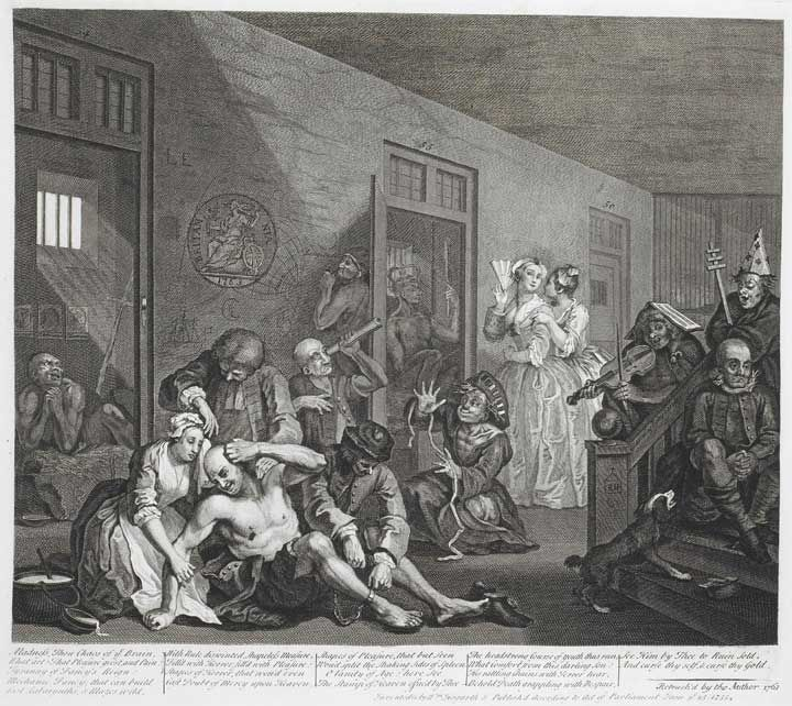 Illustration of Bedlam, by William Hogarth, 1735. Human curiosities proved just as exciting to the public. For decades, London's hospital for the insane – Bethlehem, or Bedlam – attracted queues of gawping sightseers, who were eager to watch the behaviour of inmates afflicted with mental illnesses. [British Library]