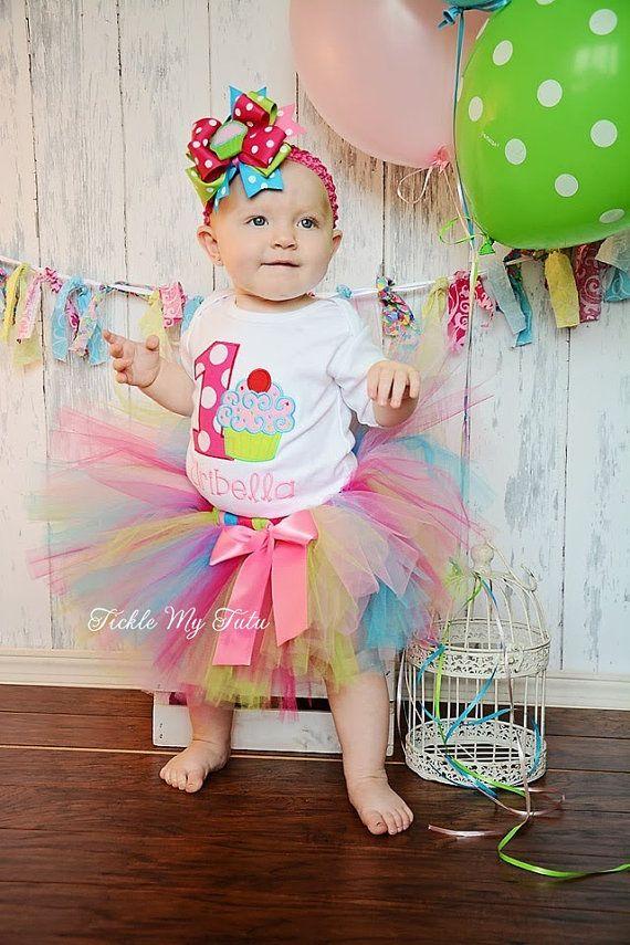 "Cupcake Swirl ""Aribella""  Birthday Tutu Outfit,  First Birthday Cupcake Tutu Set on Etsy, $54.95"