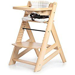 Sepnine Height Adjustable Wooden Highchair Baby High Chair with Padded Cushion 6561 (Natural)