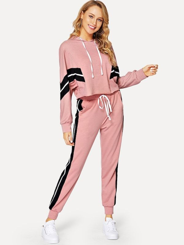 6304450aa884 Dolman Sleeve Striped Hoodie & Sweatpants Tracksuit -SheIn(Sheinside ...