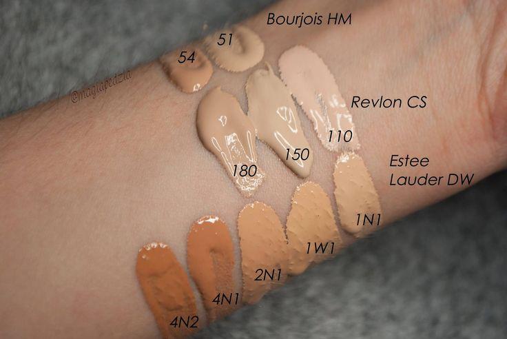 podkłady  estee lauder double wear, revlon color stay, bourjois healthy mix