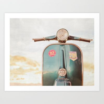 The Blue Vespa Art Print by Hello Twiggs - $19.00