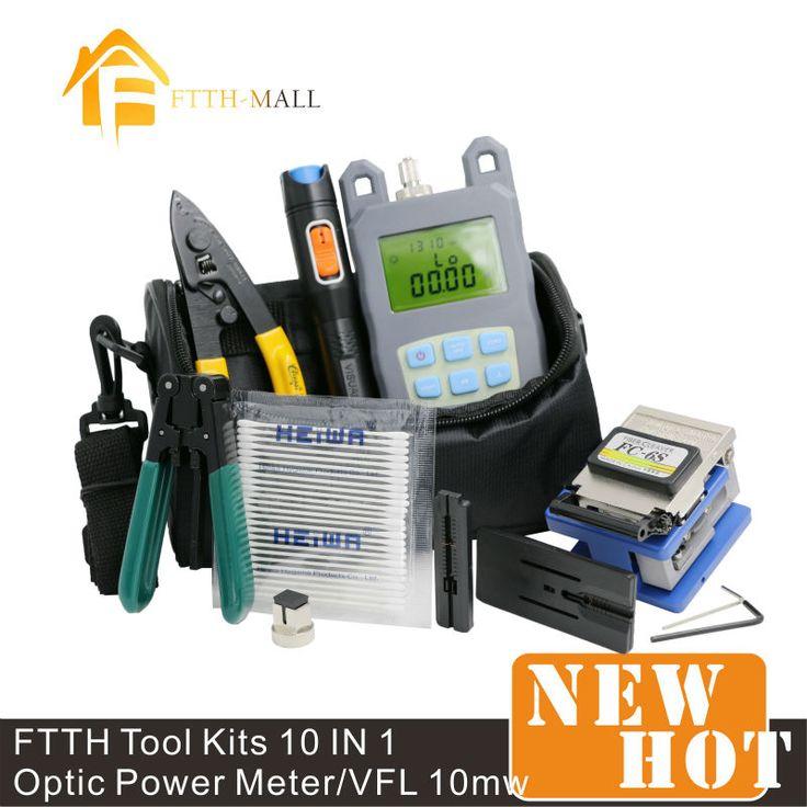 10 в 1 волоконно-оптический FTTH набор инструментов с FC-6S волоконно-тесак и оптической мощности 10 МВт визуальный локатор для