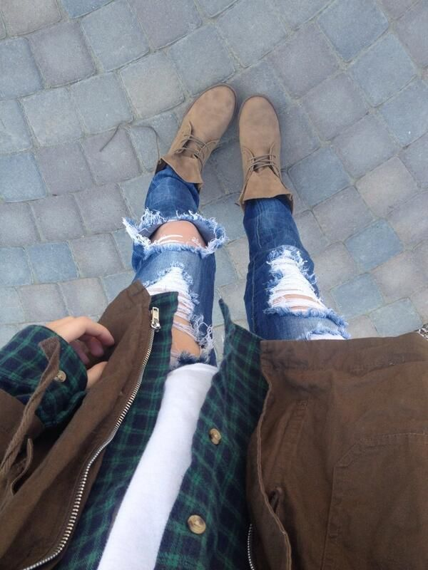 Distressed jeans, white t-shirt, blue and green checked shirt, brown jacket, brown suede ankle boots