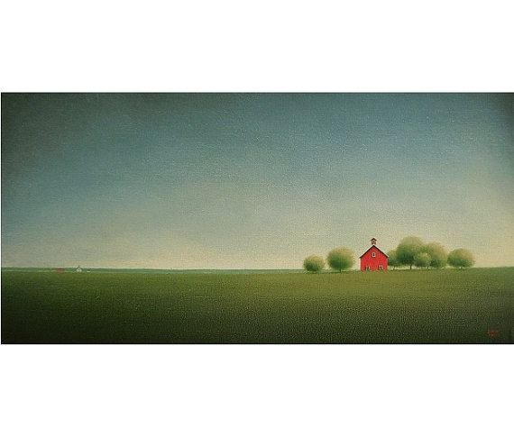 FARM Painting Barn FOLK Art Red Barn Painting Original Contemporary Fine ART Storm Chaser Country Landscape Art Gift